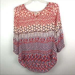 Lucky Brand | Printed Blouse Top Boho Multi Color